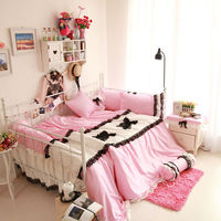 Fresco di stile della principessa rosa biancheria black lace border bedskirt Twin set/Singola/Doppia/Full/Queen/King size set di biancheria da letto