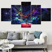5 Piece Canvas Art Colorful Man Dog Space Clouds Modern Decorative Paintings on Wall for Home Decorations Decor
