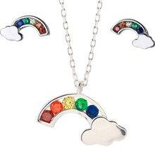 XIYANIKE – parure de bijoux en argent Sterling 925 pour femmes, joli et élégant, arc-en-ciel, petit nuage avec cristal, cadeau d'anniversaire