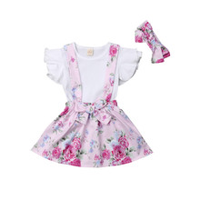 Emmababy Children Clothes arrival Comfortable 3PCS Set Solid Short Flying Sleeve Floral Strap Dress and Handwear Girls