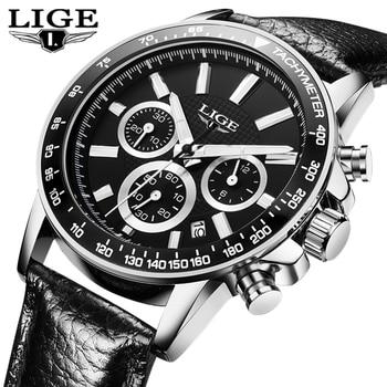 2017 LIGE Watches Men Watch Luxury Famous Brand Chronograph Men Watches Male Clock Sports Uhr Leather Quartz-Watch Reloj Hombre lige horloge 2017