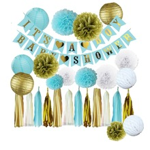 ФОТО 	its a boy baby shower banner paper pom and honeycomb balls rain curtain for wedding decoration baby shower decorations