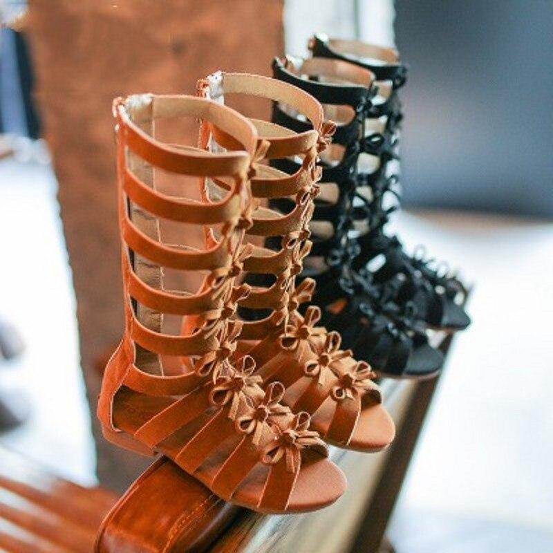 Girls Sandals Children Shoes High-Top Toddler Boots Kids Gladiator Fashion Summer Stripe