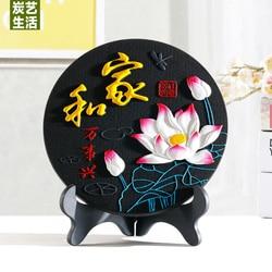 Kreatywne dekoracje domu węgiel aktywny rękodzieło adsorpcja formaldehydu/oczyszczanie powietrza wzór chiński znak w Posągi i rzeźby od Dom i ogród na