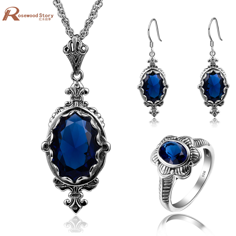 Cheap Fashion Jewelry Sets Blue CZ Stone Crystal Soild 925 Sterling Silver Jewelry Sets For Women Earrings/Rings/Pendant цена