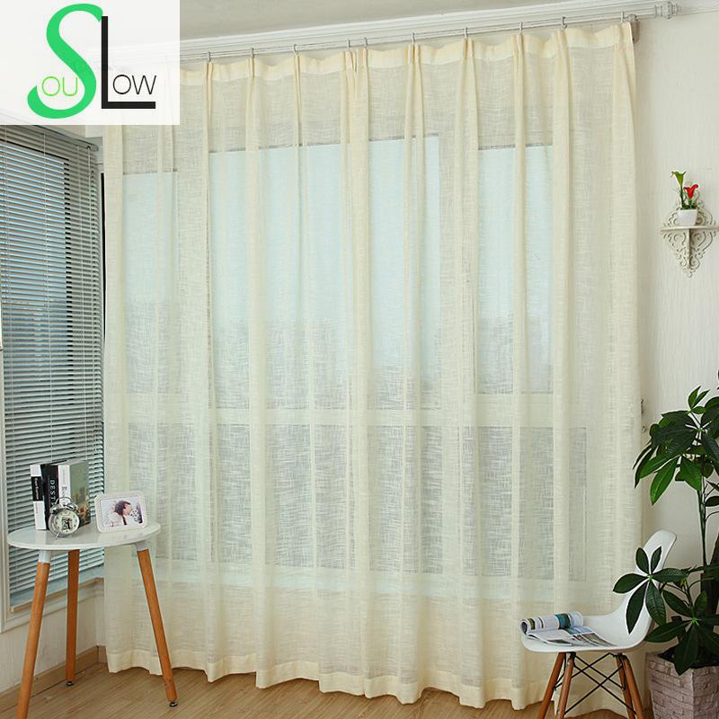 Slow Soul Green Brown White Beige Purple Cotton Linen Curtains  Mediterranean Solid For Living Room Tulle