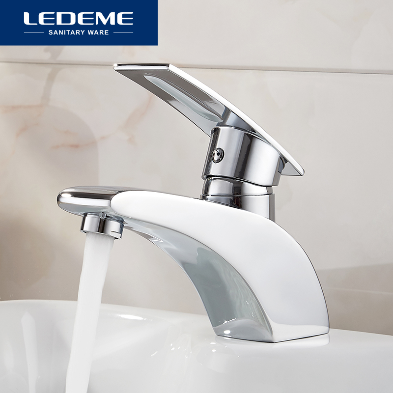 LEDEME Basin Faucet Water Tap Bathroom Faucet Solid Chrome Brass Finish Single Handle Water Sink Tap Mixer L1070 justone j055 2 dual usb 7800mah li ion battery power bank white deep pink