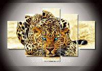 Framed High Quality Printed On Canvas Leopard Oil Painting Wall Hanging Living Room Decoration Pictures 5pcs