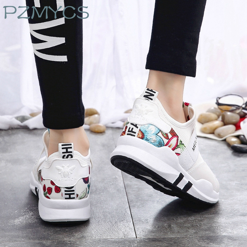 PZMYCS New Spring Fashion Lady Casual White Shoes Women Sneaker Black Leisure Thick Soled Shoes Flats Cross-tied Lace Up Soft