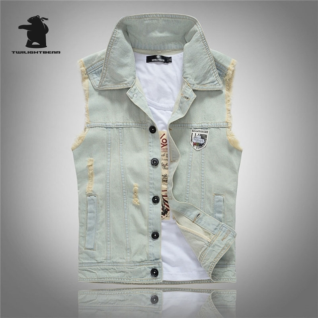 New men's Denim Vest Designer Fashion Printing Vintage Retro Light Blue High Quality Washed Plus Size Casual Vest Men CC4E0081