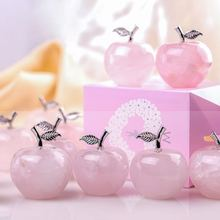 1pcs Rose Quartz Stone Pink Apple for Home Decor Natural Christmas Crystal Craft Gift and