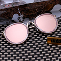 Fashion 2017 Vintage Round Women's Sunglasses Brand Design Summer Style Pink Mirror Sun Glasses For Men Oculos De Sol UV400