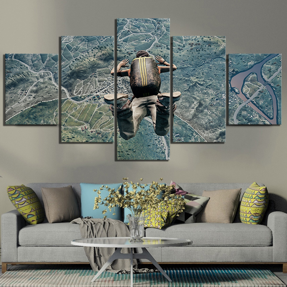 5 Piece Pubg Jump From Plane Game Poster Paintings Wall Sticker Artwork Canvas Art for Home Decor