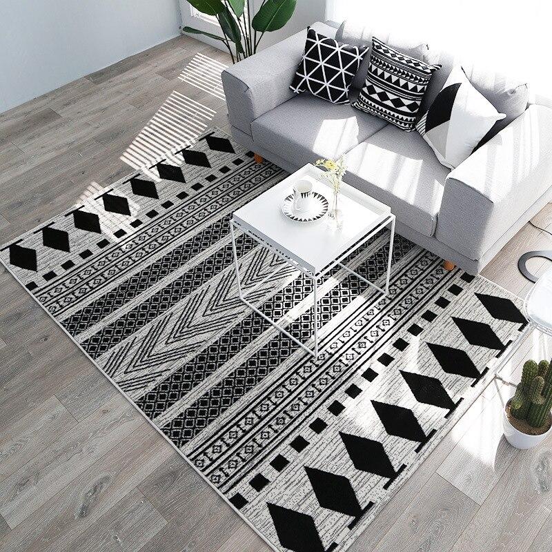 Kilim Noir Blanc 100% Polypropylène Salon Tapis Géométrique Maroc Tapis Pour Chambre Bande Tapis Moderne Conception Bohême Style