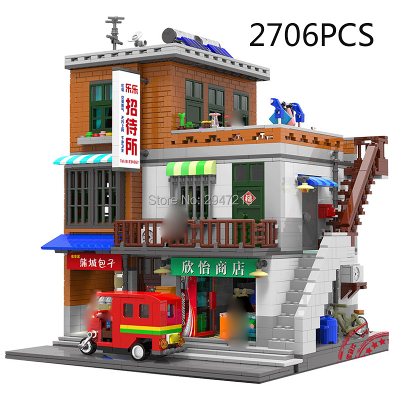 hot compatible LegoINGlys city mini Street view series Urban Village MOC Building Blocks modle figures brick toys for Children 0367 sluban 678pcs city series international airport model building blocks enlighten figure toys for children compatible legoe
