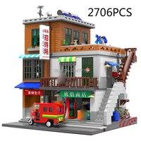 hot compatible LegoINGlys city mini Street view series Urban Village MOC Building Blocks modle figures brick toys for Children