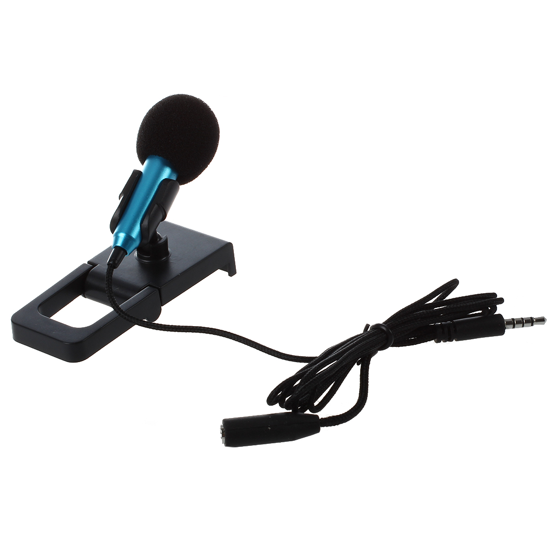 Mini hand microphone for voice recording, Internet chat on smartphone, notebook or tablet, with 3.5 mm mic cable and mic stand