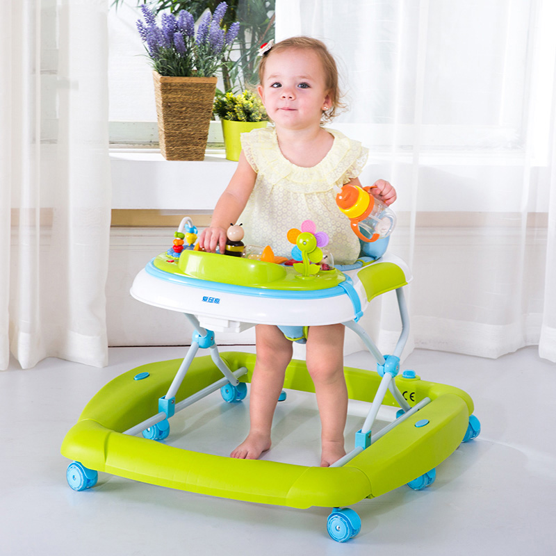 Hot Sale Baby Walker Multifunction Foldable Infant Feeding Rocking Seat Breathable Cushion Anti-Rollover Kids Walk Learning Aid