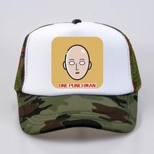 Japan ANIME one punch man cap cool summer Mesh Trucker Caps Fashion women men Baseball hat Adjustable snapback hats