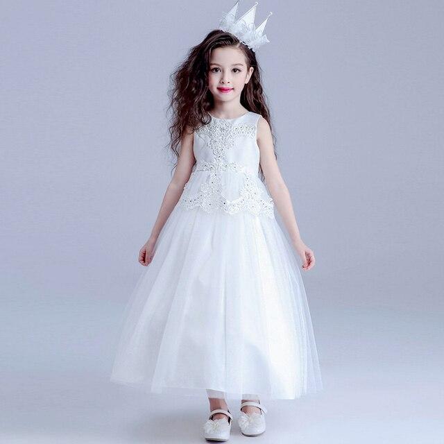 White Girls Dress Party Wedding Bridessmaids Princess Dress Elegant ...