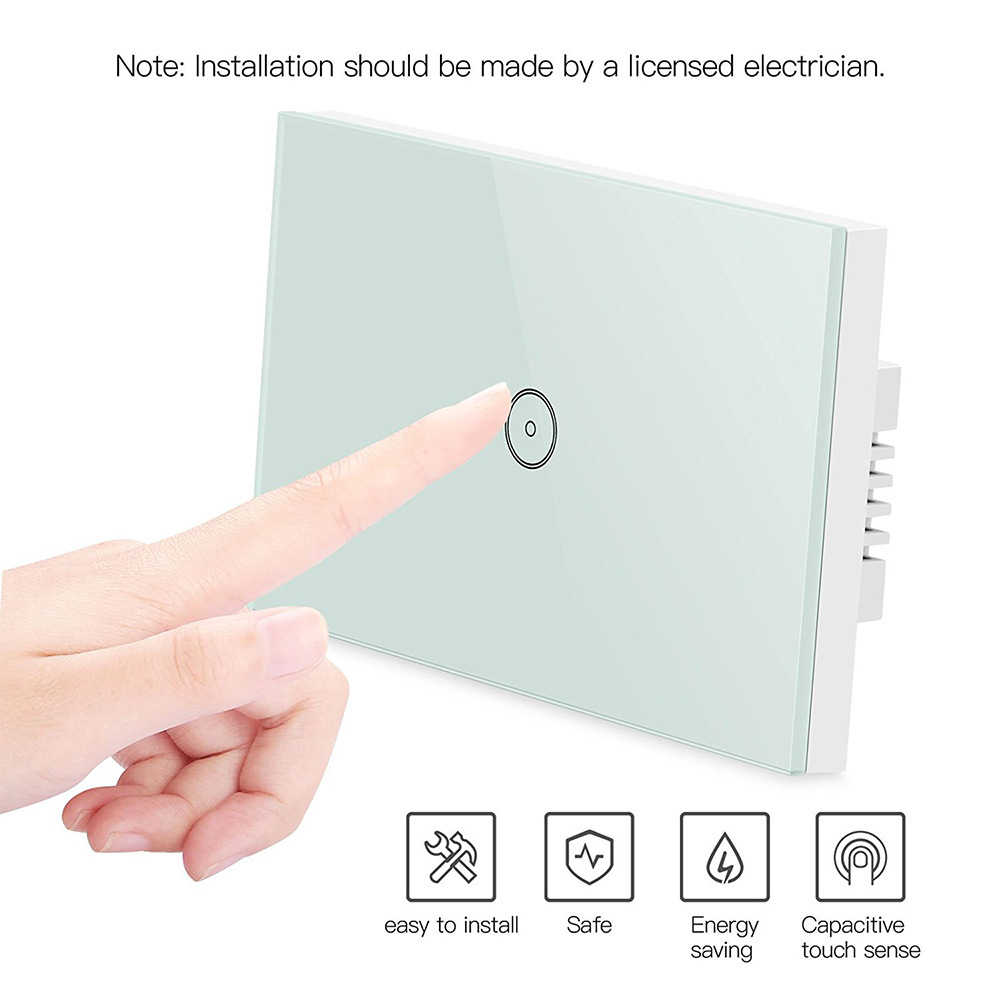 US 1 Gang Smart WIFI touch home Wall Light switch panel mobile APP Remote Alexa/google home control us 2 gang wifi control touch switch wallpad support smart home alexa google home ios android 2 gang au wall switch panel