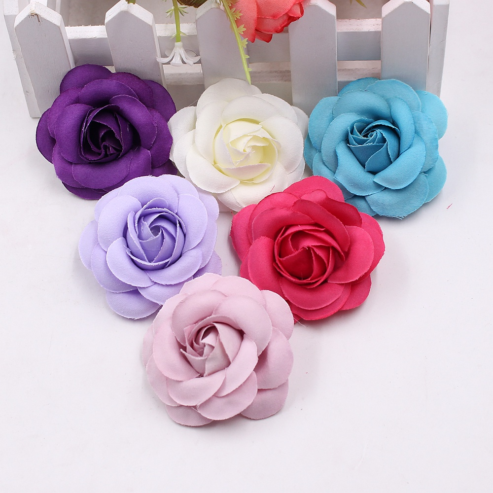 10pcs 5cm High Quality Silk Rose Artificial Flower Bud Wedding Decoration Diy Wreath Headdress Accessories Clip Art Flower