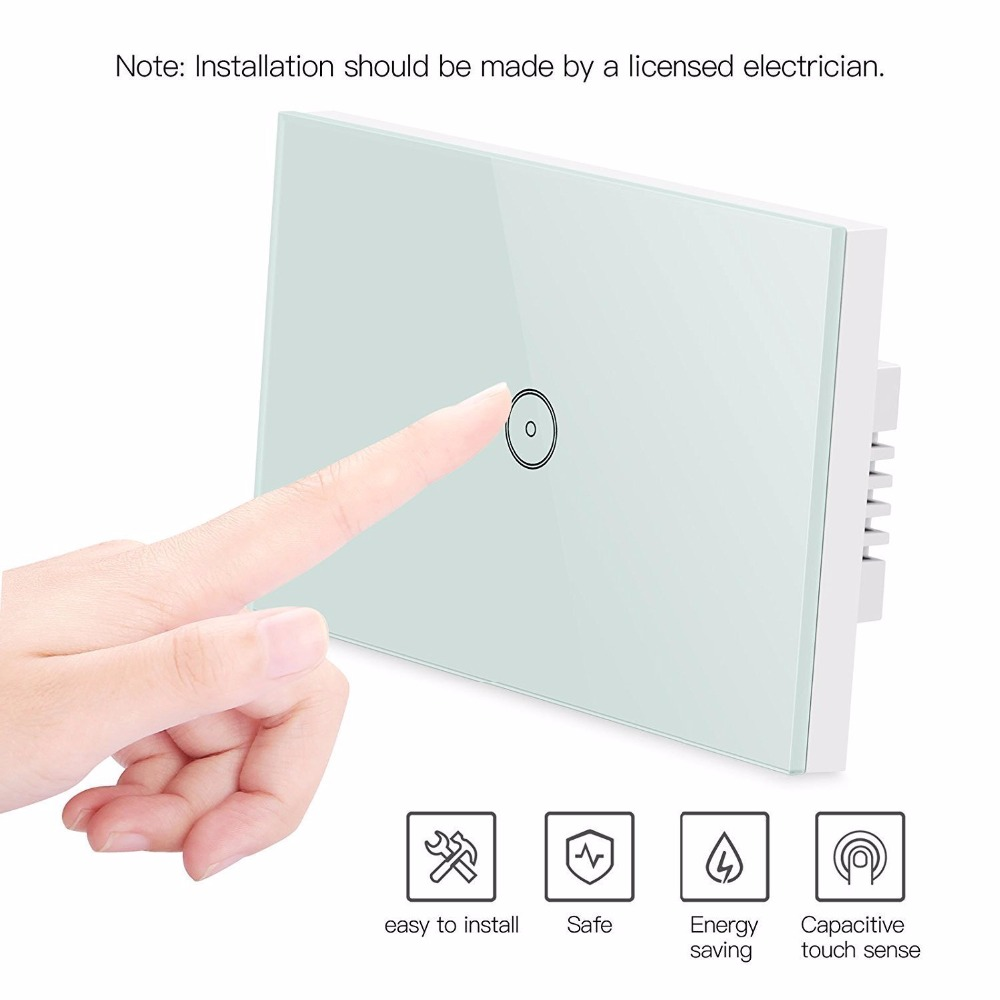 Work with Amazon Alexa and Google home   Wall light switch WiFi switch app control touch glass panel switch for smart home 1