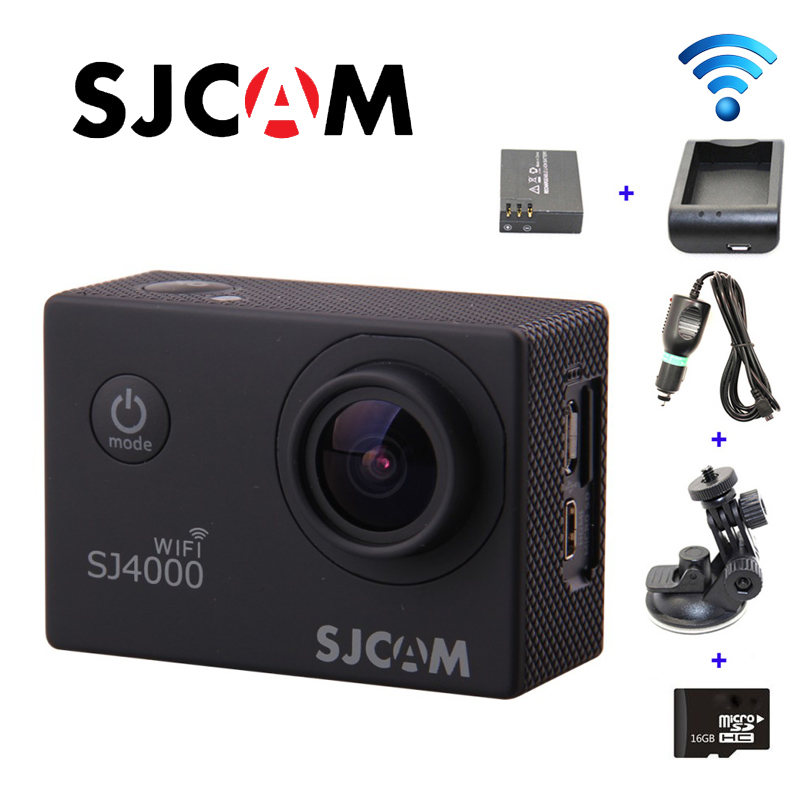 Free shipping!!Original SJ4000 WIFI Sport Camera+Car Charger+Holder+Battery Charger+Extra battery+16GB TF Card for DV Camera цена