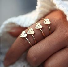Personalized heart-shaped letter A-Z womens ring Simple fashion jewelry High-quality exquisite three-color