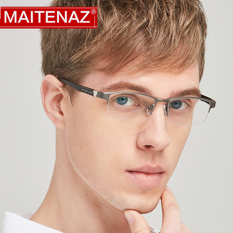 MAITENAZ Titanium TR90 Prescription Eyeglasses Simple Business Myopia Hyperopia Glasses for Men Comfortable Spectacles 1801(China)