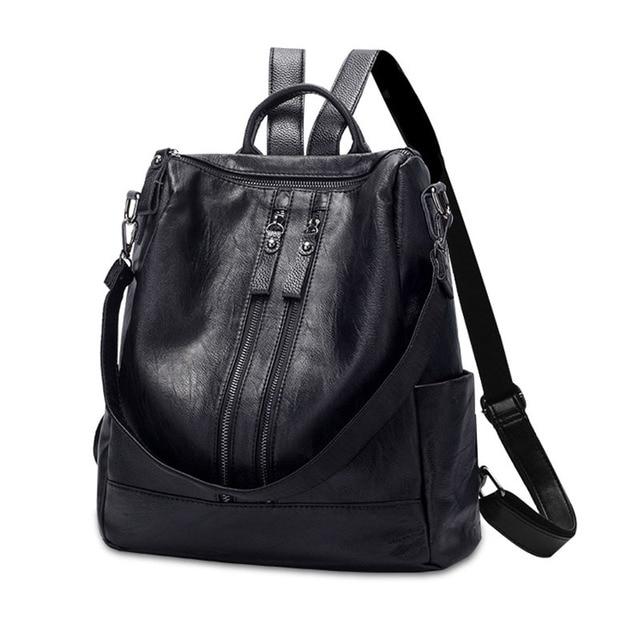 BERAGHINI High Quality PU Leather Women Backpack Fashion School Bags For Teenager Girls Casual Women Black Backpacks