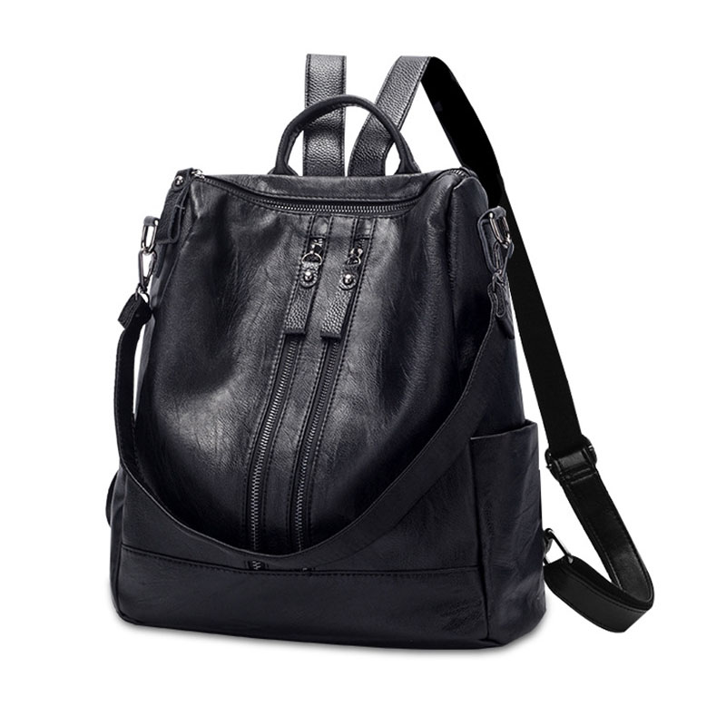 Heraghini High Quality Pu Leather Women Backpack Fashion School Bags For Teenager Girls Casual Women Black Backpacks