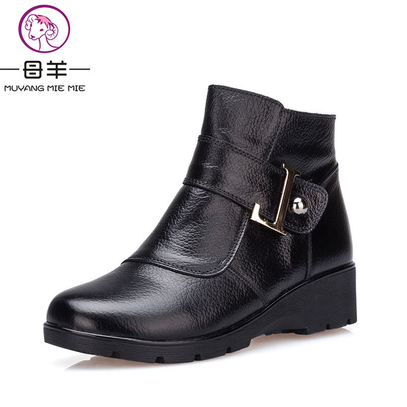 MUYANG MIE MIE Winter Women Shoes Woman Genuine Leather Wedges Snow Boots 2017 Mother Warm Ankle Boots Women Boots muyang mie mie plus size 35 43 winter women shoes woman genuine leather flat ankle boots 2016 fashion snow boots women boots