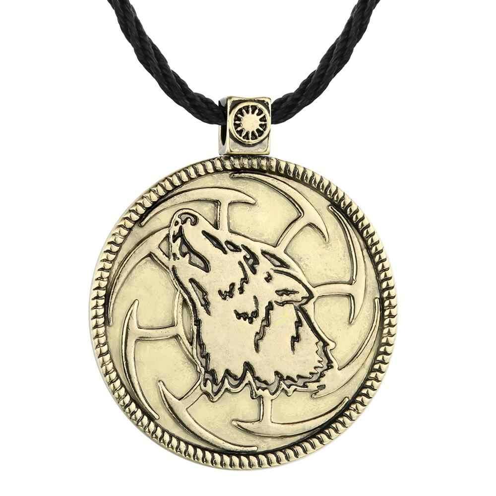 FENGLI Kolovrat Amulet Pagan wilk męskie naszyjniki talizman moc etniczne słowiański wisiorek naszyjnik Handmade Collier Viking biżuteria