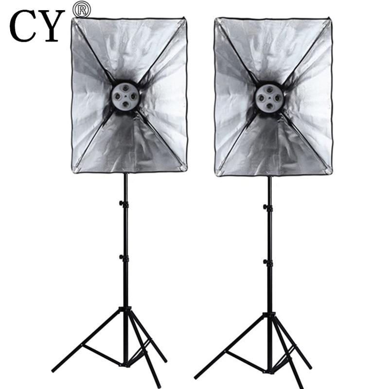 CY Photography Studio Soft Box Lighting Kits 200cm Light Stand*2+50*70cm SoftBox*2 with E27 4 Lamp Holder Photo Studio Set