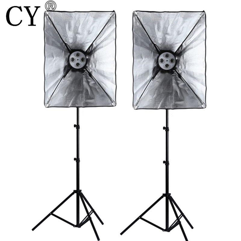Здесь продается  CY Photography Studio Soft Box Lighting Kits 200cm Light Stand*2+50*70cm SoftBox*2 with E27 4 Lamp Holder Photo Studio Set  Бытовая электроника