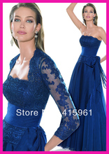 Royal Blue Lace Floor Length Chiffon Mother of the Bride Gowns Dress With Jacket M196