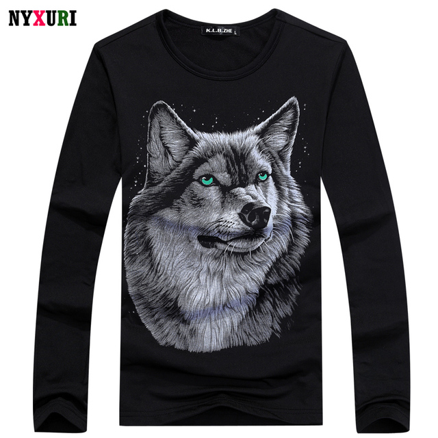2016 Autumn Fashion Mens Long Sleeve Wolf 3D printed T Shirt Men O-neck Breathable Soft Shirts Hip Hop Slim Casual Brand T-Shirt