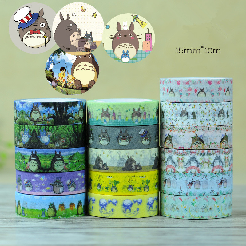 4 pcs/Lot cute Totoro paper tapes 1.5cm*10m washi tape Japanese Masking deco adhesive stickers Stationery school supplies 12pcs lot vegetab fruit plant paper masking tape japanese washi tapes set 3cm 5m stickers kawaii school supplies papeleria 7161