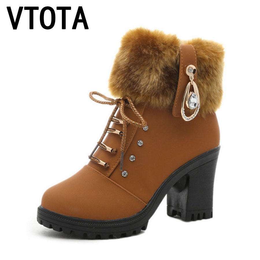 VTOTA Women Autumn Boots Fashion Winter Boots 2017 Ankle Boots For Women High Heels Shoes Woman