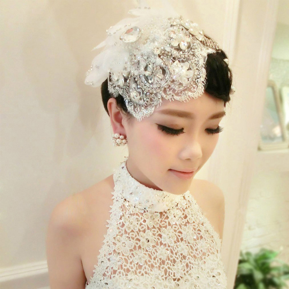 2016 High Quality Handmade Lace Headdress Flower Hat Pearl