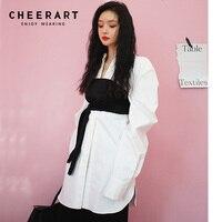 Cheerart Spring 2019 Blouse Women Plus Size White Long Shirt Oversize Loose Corset Shirt Long Sleeve Korean Street Style Blouse