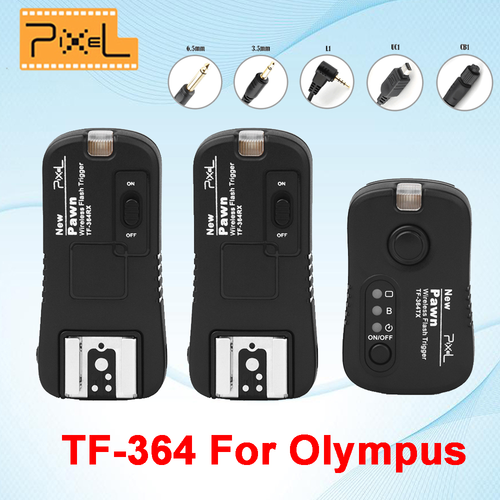 Pixel Pown TF-364 Wireless Remote Control Shutter Release Flash Trigger 1* Transmitter & 2* Receiver For Olympus Panasonic Gf1 i ttl wireless flash trigger for nikon sb910 sb900 sb700 remote control shutter release cord cable for d5000 d5100 d90 camera