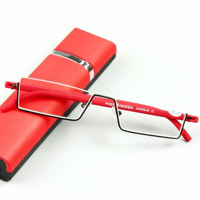 TR-90 Half Metal Frame Brush Pot Reading Glasses Women Men Eyewear Tendy Presbypic Eyeglasses Slim Portable Black/Red