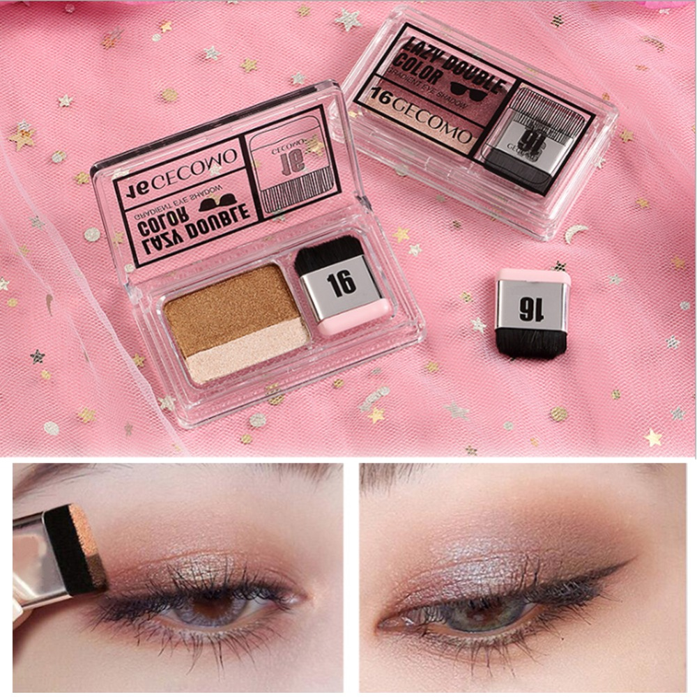Eyes Makeup Cosmetics Magazine Lazy Eyeshadow Stamp Eye Shadow Double Color Shimmer Palette Waterproof Long Lasting Natural Nude