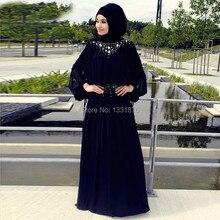 Black Muslim Long Sleeve Evening Dresses 2017 Fast Shipping Abaya In Dubai Chiffon Long Prom Dresses With Hijab Custom Made