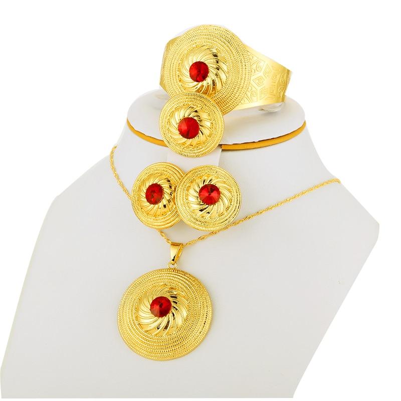 Renk Taş Etiyopya Altın Set Takı Kolye Kolye Bileklik Küpe - Kostüm mücevherat - Fotoğraf 4