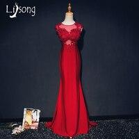 Red Sirena de La Gasa Apliques Vestido de Noche Vaina Palabra de Longitud O-cuello de la Moda Por Encargo Vestido de Novia Vestido Formal Maxi