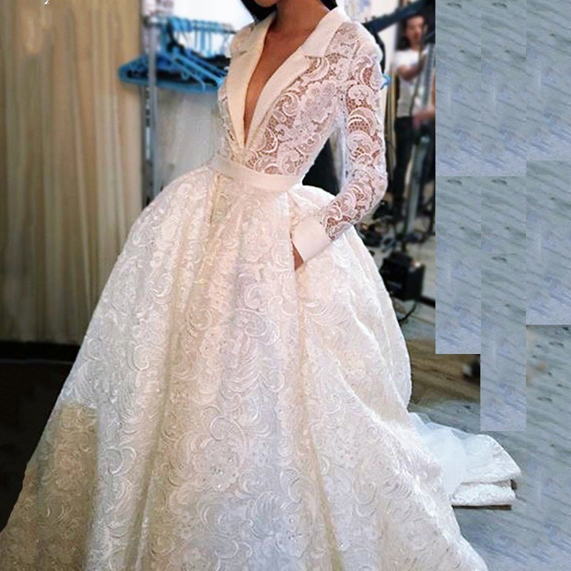White Muslim Evening Dresses 2019 Ball Gown V-neck Long Sleeves Lace Islamic Dubai Saudi Arabic Long Elegant Evening Gown Prom