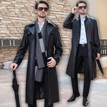 Autumn stand collar single-breasted leather coats men slim long coat mens leather trench coats black autumn fashion M- 4XL stand collar half breasted mens tee